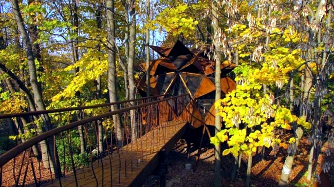 Wood tree house build - places of relaxation of O2 Treehouse