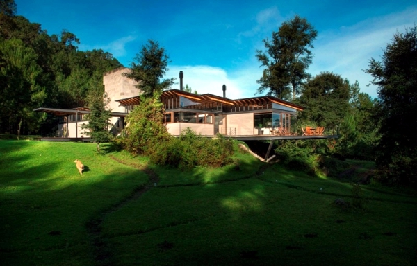 Wooden house with glass facade thrilled with scenic views of the forest
