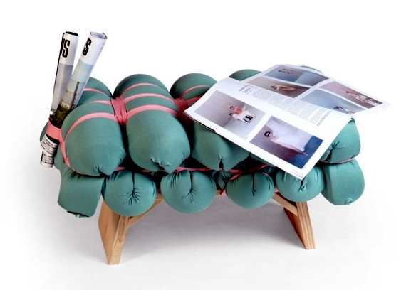 Wooden stools and benches by Meike Harde - Folds as a focal point